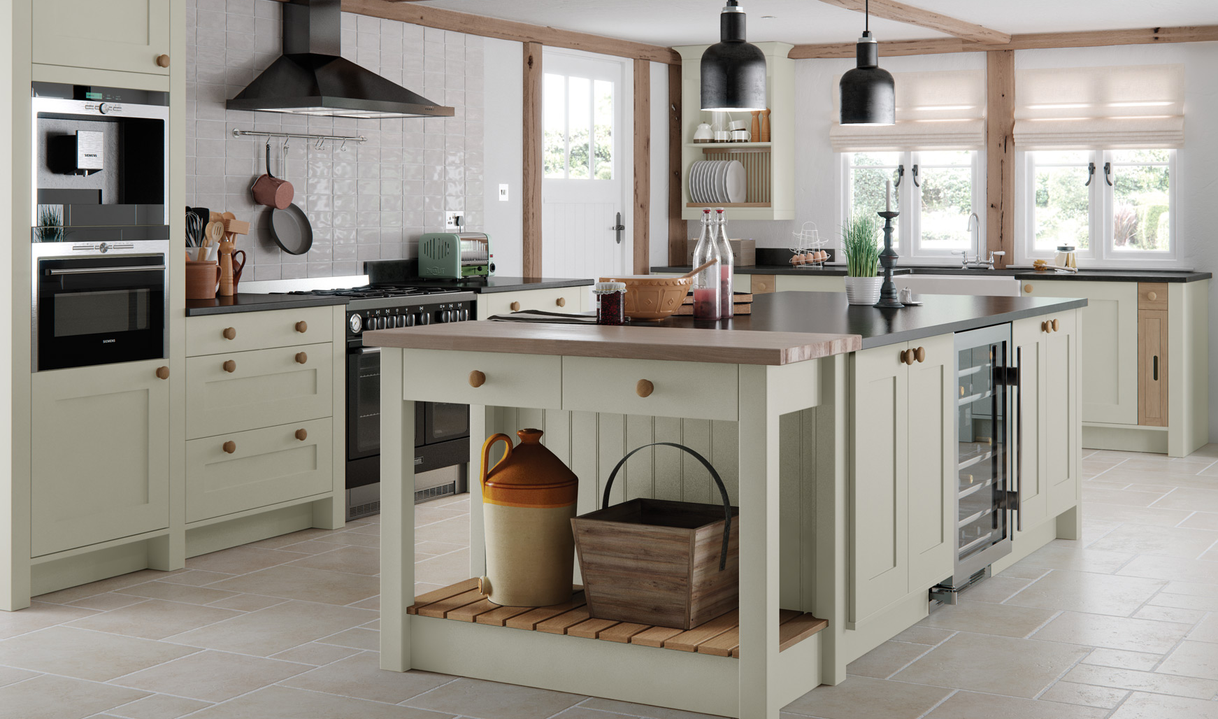 Suffolk Wood Shaker Painted Mussel Kitchen